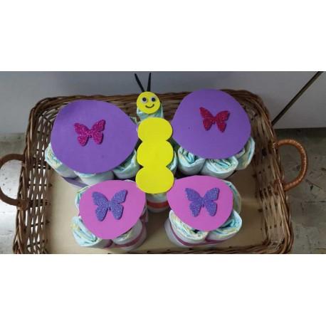 Pastel pañales mariposa